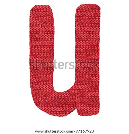 letter U alphabet, knitted spokes structure - stock photo