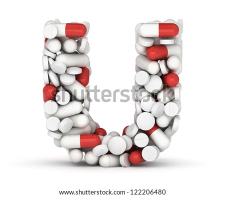 Letter U, alphabet of medicine pills - stock photo