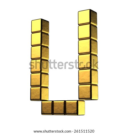 Letter U from big cube gold perspective alphabet. There is a clipping path - stock photo
