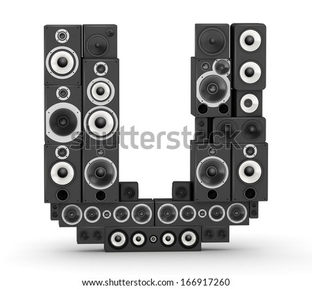 Letter U from black hi-fi speakers sound systems - stock photo