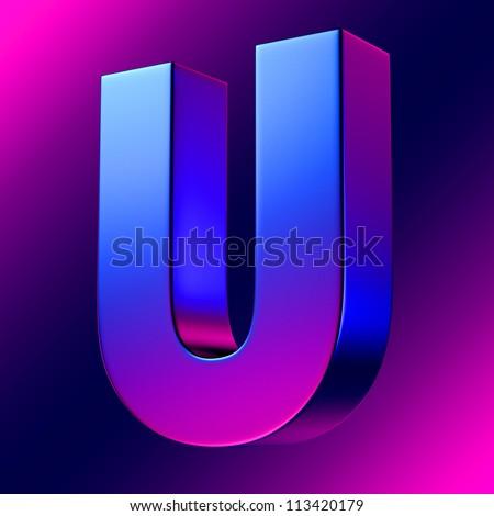 letter u bluemagenta solid alphabet there stock illustration