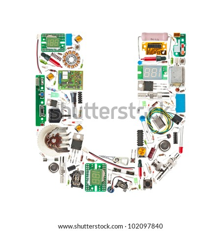Letter 'U' made of electronic components isolated in white background - stock photo