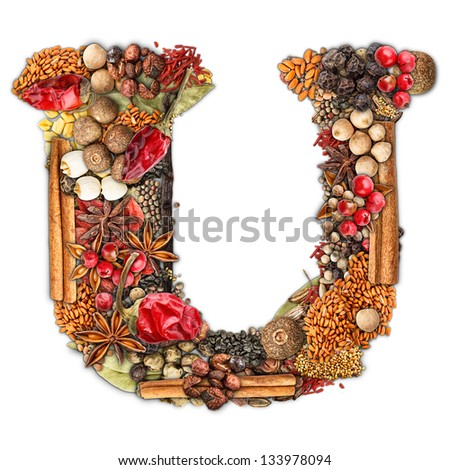 Letter U made of spices isolated on white background - stock photo