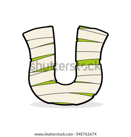 Letter U Monster zombie. Alphabetical icon medical bandages. Egyptian concept of template elements ABC. Mummy ABC icon - stock photo