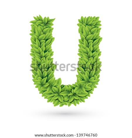 Letter U of green leaves