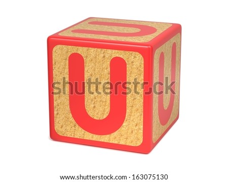 Letter U on Red Wooden Childrens Alphabet Block Isolated on White. Educational Concept. - stock photo