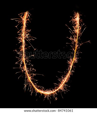 Letter U. Real sparkler alphabet - stock photo