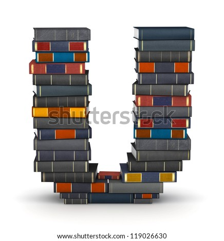 Letter U, stacked from many encyclopedic books in pile - stock photo