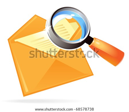 Letter under magnifying glass. Raster version. Vector version is also available.