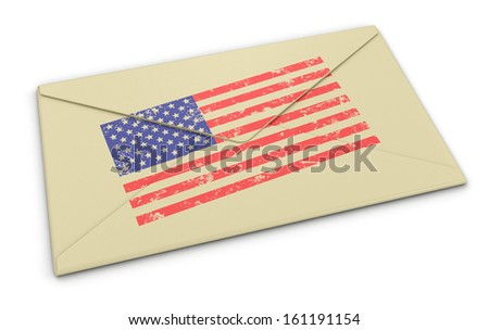 letter USA flag (clipping path included) - stock photo