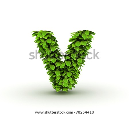 Letter  v, alphabet of green leaves, small caps - stock photo