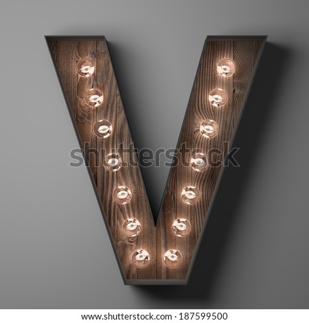Letter V for sign with light bulbs - stock photo