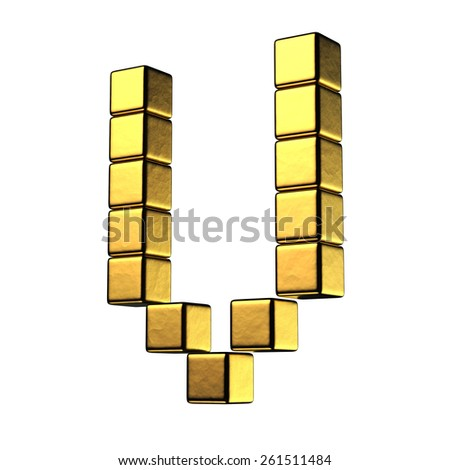 Letter V from big cube gold perspective alphabet. There is a clipping path - stock photo