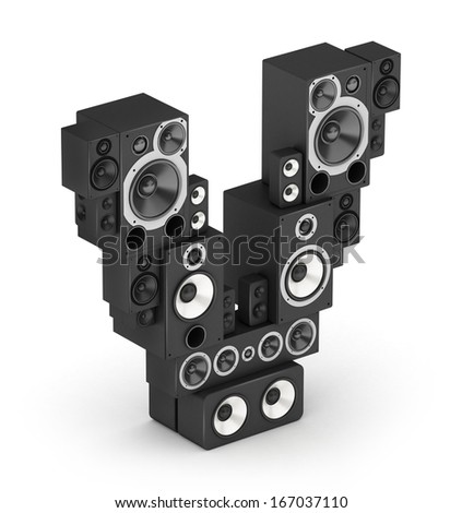 Letter V from black hi-fi speakers sound systems  in isometry - stock photo