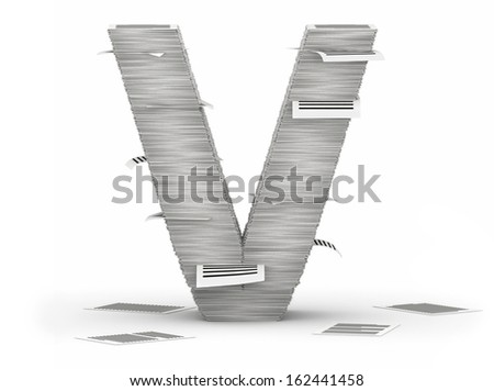 Letter V, from stacks of paper pages font - stock photo
