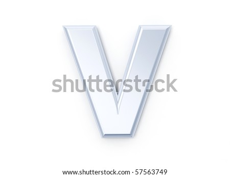 Letter V in brushed metal on a white isolated background
