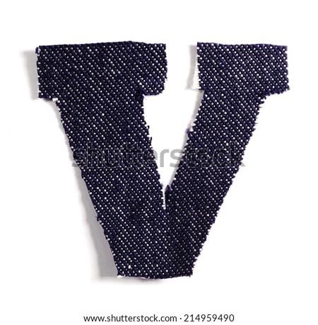 Letter V. Jeans alphabet Isolated on White. Handmade font. - stock photo