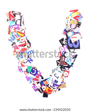 Letter V made of colorful newspaper letters isolated on white - stock photo