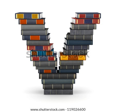 Letter V, stacked from many encyclopedic books in pile - stock photo