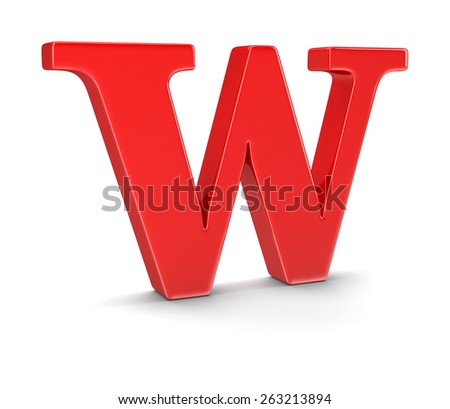 Letter W (clipping path included) - stock photo