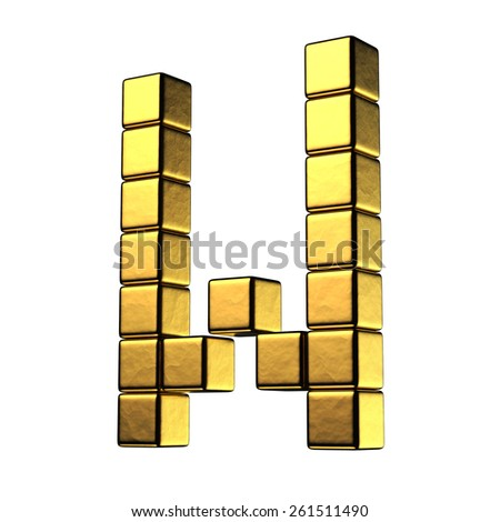 Letter W from big cube gold perspective alphabet. There is a clipping path - stock photo