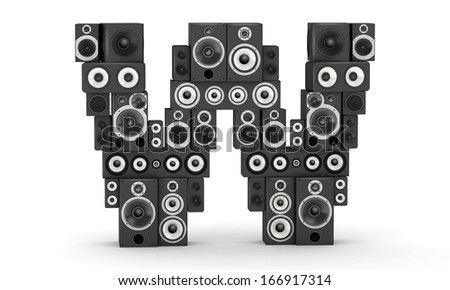 Letter W from black hi-fi speakers sound systems - stock photo