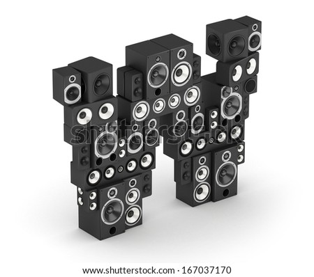 Letter W from black hi-fi speakers sound systems  in isometry - stock photo