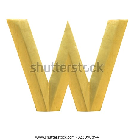 Letter W from Gold solid alphabet. There is a clipping path - stock photo