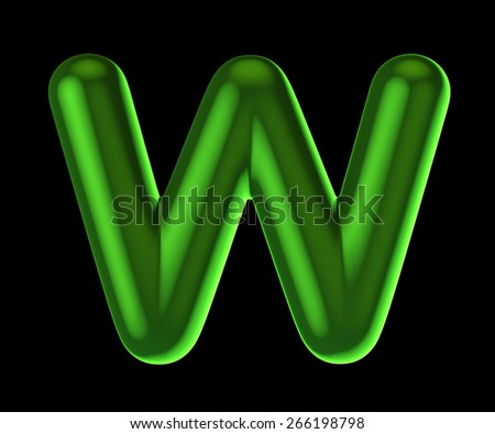 Letter W from round green back light alphabet. There is a clipping path - stock photo