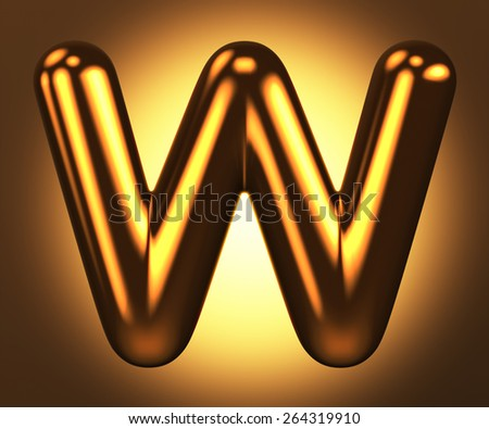 Letter W from round pure gold alphabet. There is a clipping path. The background is presented as an example. It can be replaced - stock photo