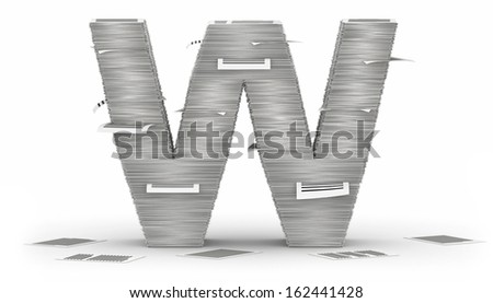 Letter W, from stacks of paper pages font - stock photo