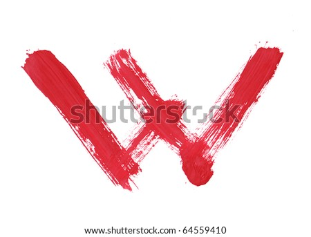 Letter W handwritten paint stroke sketch. Red Isolated on white background. One from collection set.