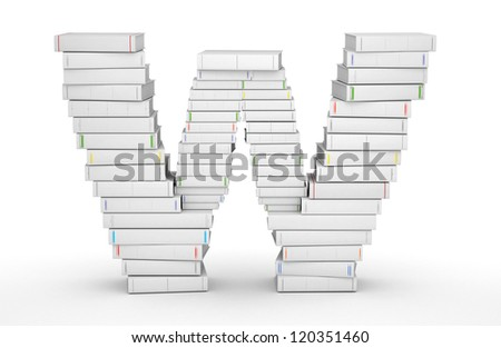 Letter W, stacked from many blank title books in column - stock photo