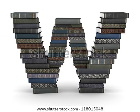 Letter W, stacked from many  books in pile - stock photo