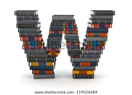Letter W, stacked from many encyclopedic books in pile - stock photo