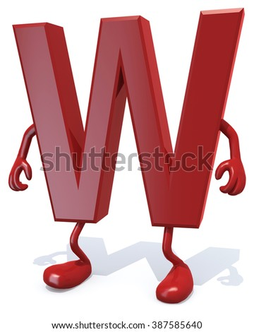 letter W with arms and legs posing, isolated on white 3d illustration - stock photo