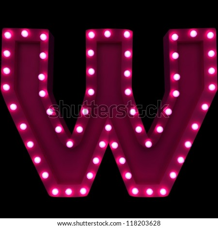 letter W with neon lights isolated on black background - stock photo