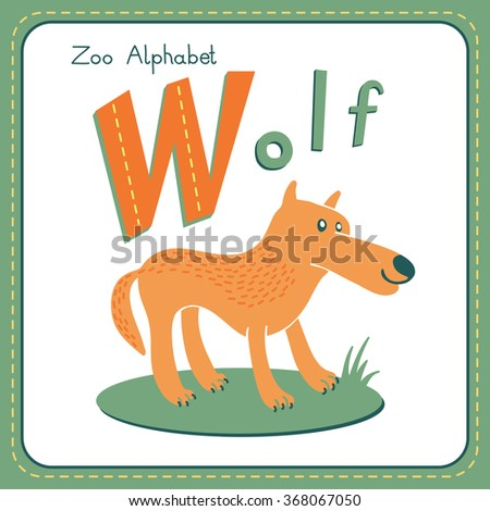 Letter W - Wolf. Alphabet with cute animals.