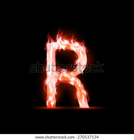 letter with red fire - stock photo
