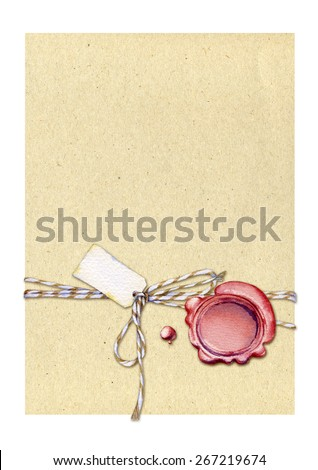 Letter with ribbon and tag labeling and sealing wax.