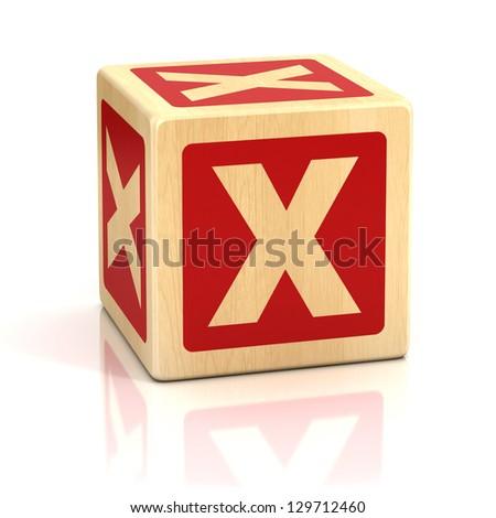 letter x alphabet cubes font - stock photo