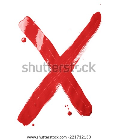 Letter X character hand drawn with the oil paint brush strokes, isolated over the white background