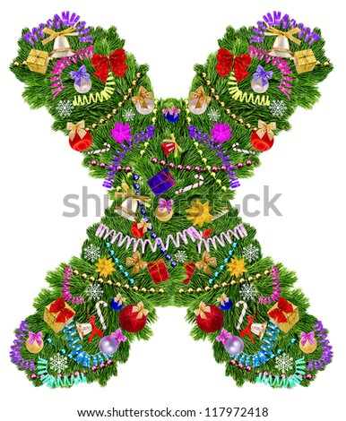 Letter X. Christmas tree decoration on a white background - stock photo
