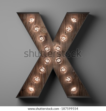 Letter X for sign with light bulbs - stock photo