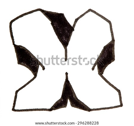 Letter X, hand drawn alphabet in graffiti style with a black fiber tip pen - stock photo