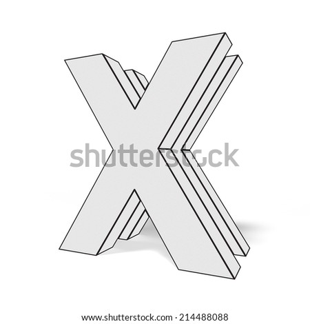 letter x isolated on white background - stock photo