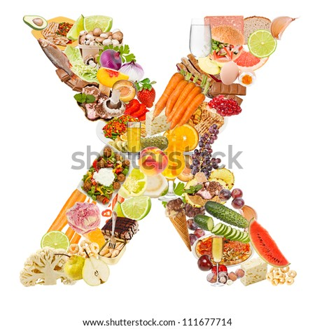 Letter X made of food isolated on white background - stock photo