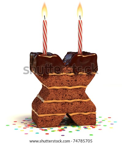 letter X shaped chocolate birthday cake with lit candle and confetti isolated over white background 3d illustration