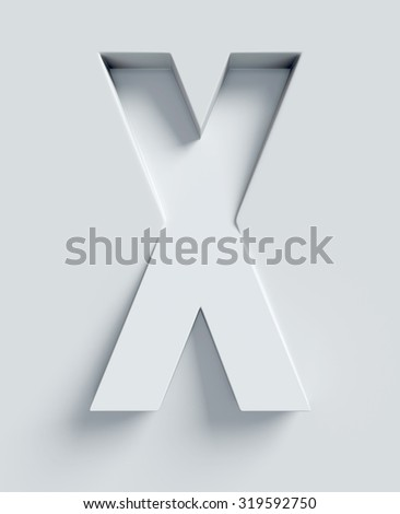 Letter X slanted 3d font engraved and extruded from the surface - stock photo