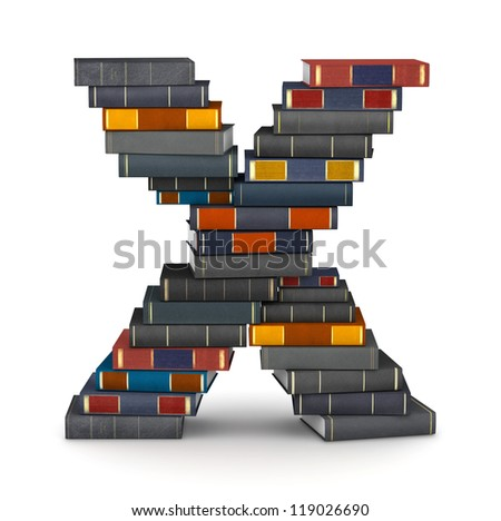 Letter X, stacked from many encyclopedic books in pile - stock photo